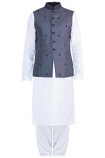 Grey Embroidered Bundi Jacket With Kurta & Pyjama Pants by Vanshik