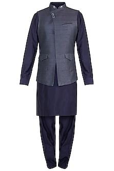 Grey Bundi Jacket With Kurta & Pyjama Pants by Vanshik