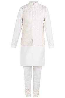 Ivory Embroidered Silk Bundi Jacket With Kurta & Churidaar Pants by Vanshik