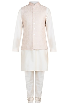 Peach Embroidered Silk Bundi Jacket With Kurta & Churidaar Pants by Vanshik