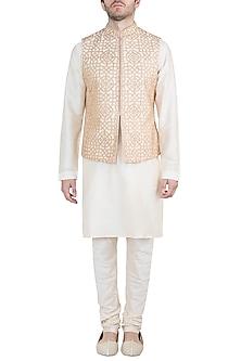 Peach Embroidered Bundi Jacket With Kurta & Pants by Vanshik