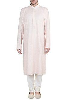 Peach Embroidered Kurta With Churidaar Pants by Vanshik