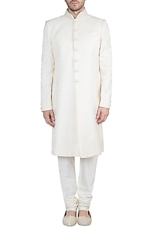 Cream Embroidered Jamevar Sherwani Kurta With Churidaar Pants by Vanshik