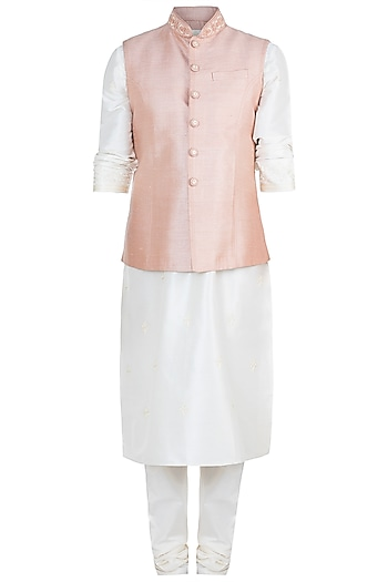 Peach Embroidered Bundi Jacket With Kurta & Churidaar Pants by Vanshik