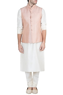 Peach Embroidered Bundi Jacket With Kurta & Churidaar Pants by Vanshik