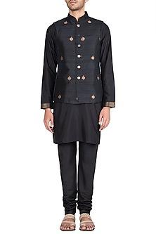 Black Embroidered Waist Coat With Kurta & Churidaar Pants by Vanshik