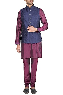 Maroon & Blue Embroidered Waist Coat With Kurta & Pants by Vanshik