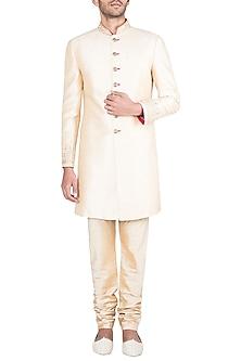 Light Gold Embroidered Sherwani Kurta With Pants by Vanshik