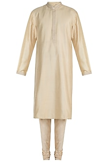 Gold Dhakai Stitched Kurta Set by Vanshik
