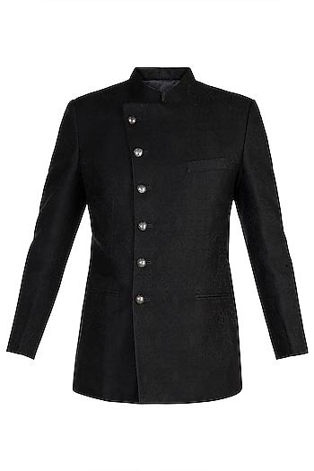 Black Pashmina Jodhpuri Jacket by Vanshik
