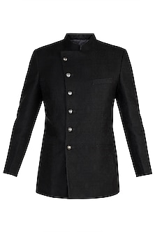 Black Pashmina Jodhpuri Jacket by Vanshik
