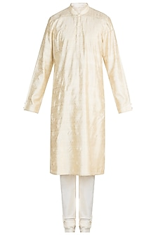 Cream Kantha Embroidered Silk Kurta Set by Vanshik