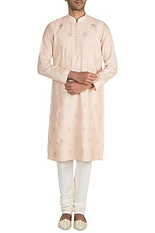 Peach Zardosi Embroidered Kurta Set by Vanshik