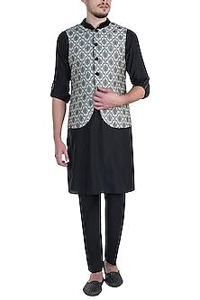 Beige Bundi Jacket with Kurta and Churidar Pants by Vanshik