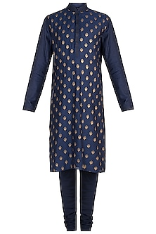 Blue Embroidered Kurta with Churidar Pants by Vanshik