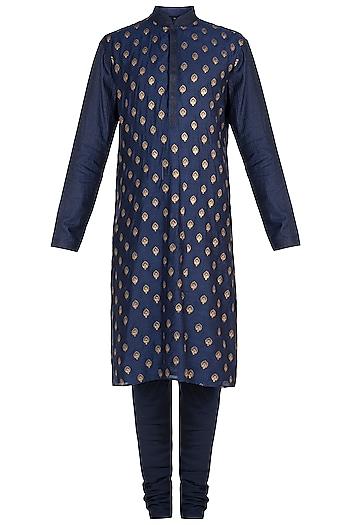 Blue Embroidered Kurta with Churidar Pants by Vanshik
