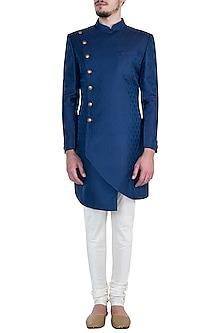 Blue Achkan Kurta with Salwar Pants by Vanshik