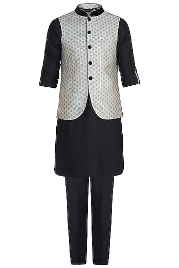 Ivory Banarsi Bundi Jacket with Kurta and Churidar Pants by Vanshik
