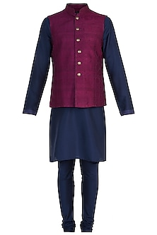 Purple Tanchoi Bundi Jacket with Kurta and Churidar Pants by Vanshik