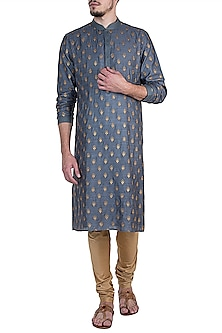 Blue and Olive Embroidered Kurta with Churidar Pants by Vanshik