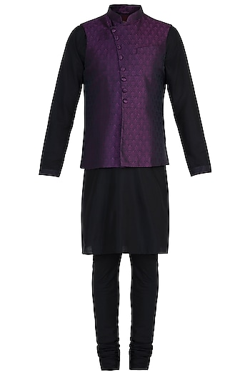 Mauve Tanchoi Bundi Jacket with Kurta and Churidar Pants by Vanshik