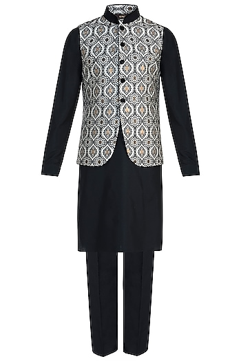 Black Kurta with Churidar Pants and Ivory Bundi Jacket by Vanshik