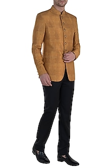 Gold Digital Printed Jodhpuri Jacket by Vanshik