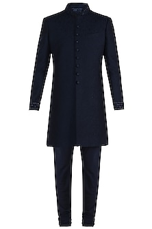 Blue Embroidered Sherwani Jacket by Vanshik