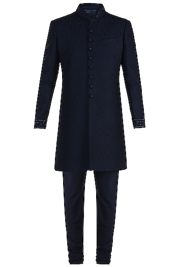 Blue Embroidered Sherwani Jacket by Vanshik