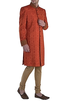Rust and Gold Zari Work Sherwani with Churidar Pants by Vanshik