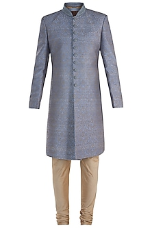 Grey Embroidered Sherwani with Churidar Pants by Vanshik