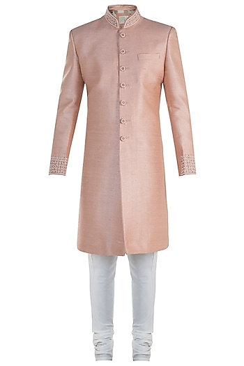 Peach Sherwani Set by Vanshik