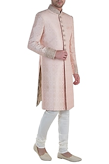 Peach Embroidered Sherwani with Pants by Vanshik