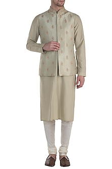 Mint Embroidered Waist Coat with Kurta and Pants by Vanshik