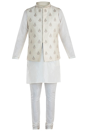 Cream Embroidered Waist Coat with Kurta and Pants by Vanshik