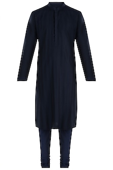 Blue Silk Kurta with Pants by Vanshik