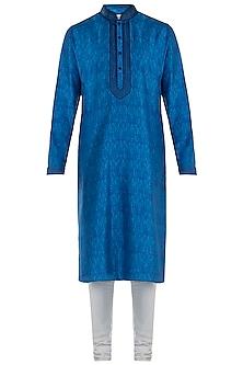 Royal Blue Digital Printed Kurta with Pants by Vanshik