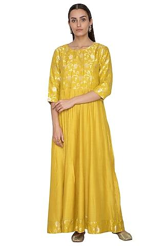 Mustard Yellow Embroidered Anarkali by Vishwa by Pinki Sinha
