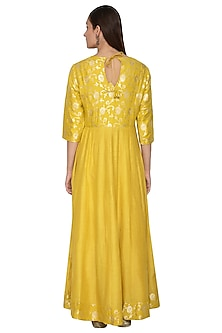 Mustard Yellow Embroidered Anarkali by Vishwa by Pinki Sinha