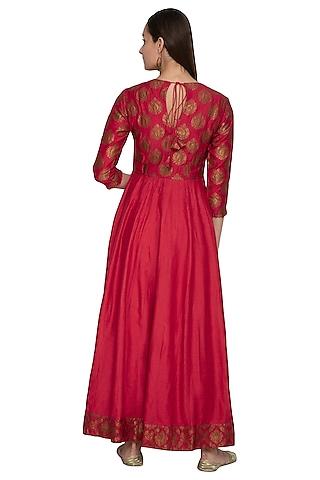 Red Embroidered Muga Silk Anarkali by Vishwa by Pinki Sinha