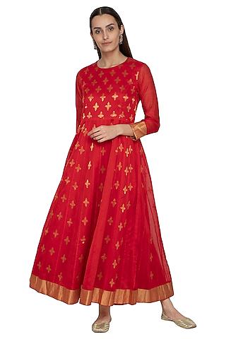 Red Embroidered Chanderi Anarkali by Vishwa by Pinki Sinha
