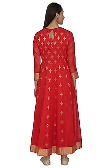 Red Embroidered Chanderi Anarkali by Vishwa by Pinki Sinha
