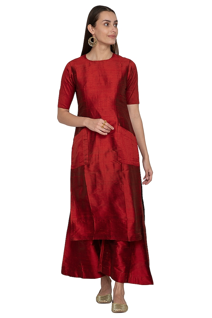 Red Embroidered Raw Silk Kurta With Palazzo Pants by Vishwa by Pinki Sinha