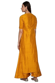 Mustard Embroidered Raw Silk Kurta With Palazzo Pants by Vishwa by Pinki Sinha