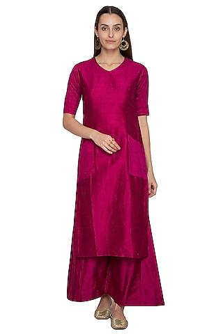 Pink Embroidered Raw Silk Kurta With Palazzo Pants by Vishwa by Pinki Sinha