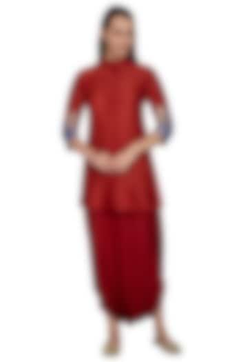 Red Embroidered Pathani Shirt With Dhoti Skirt by Vishwa by Pinki Sinha