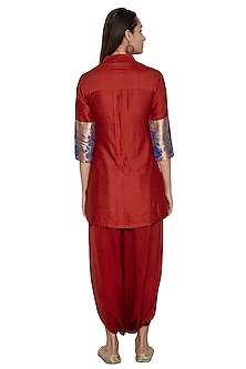 Red Embroidered Pathani Shirt With Dhoti Skirt by Vishwa by Pinki Sinha