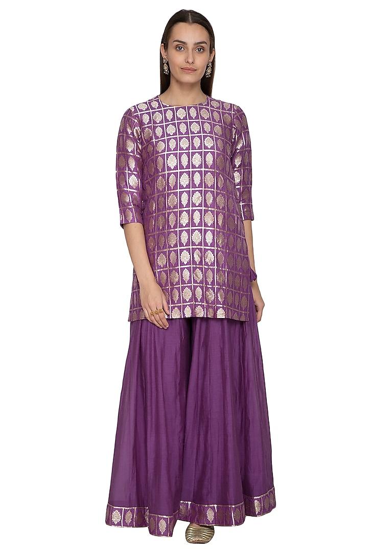Purple Embroidered Kurta With Sharara Pants by Vishwa by Pinki Sinha