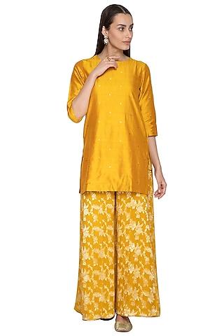 Mustard Yellow Embroidered Kurta With Sharara Pants by Vishwa by Pinki Sinha