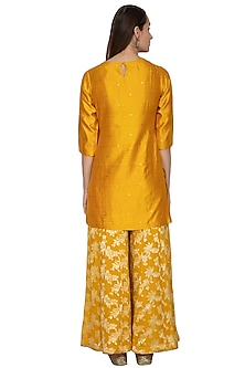 Mustard Yellow Embroidered Kurta With Sharara Pants by Vishwa by Pinki Sinha